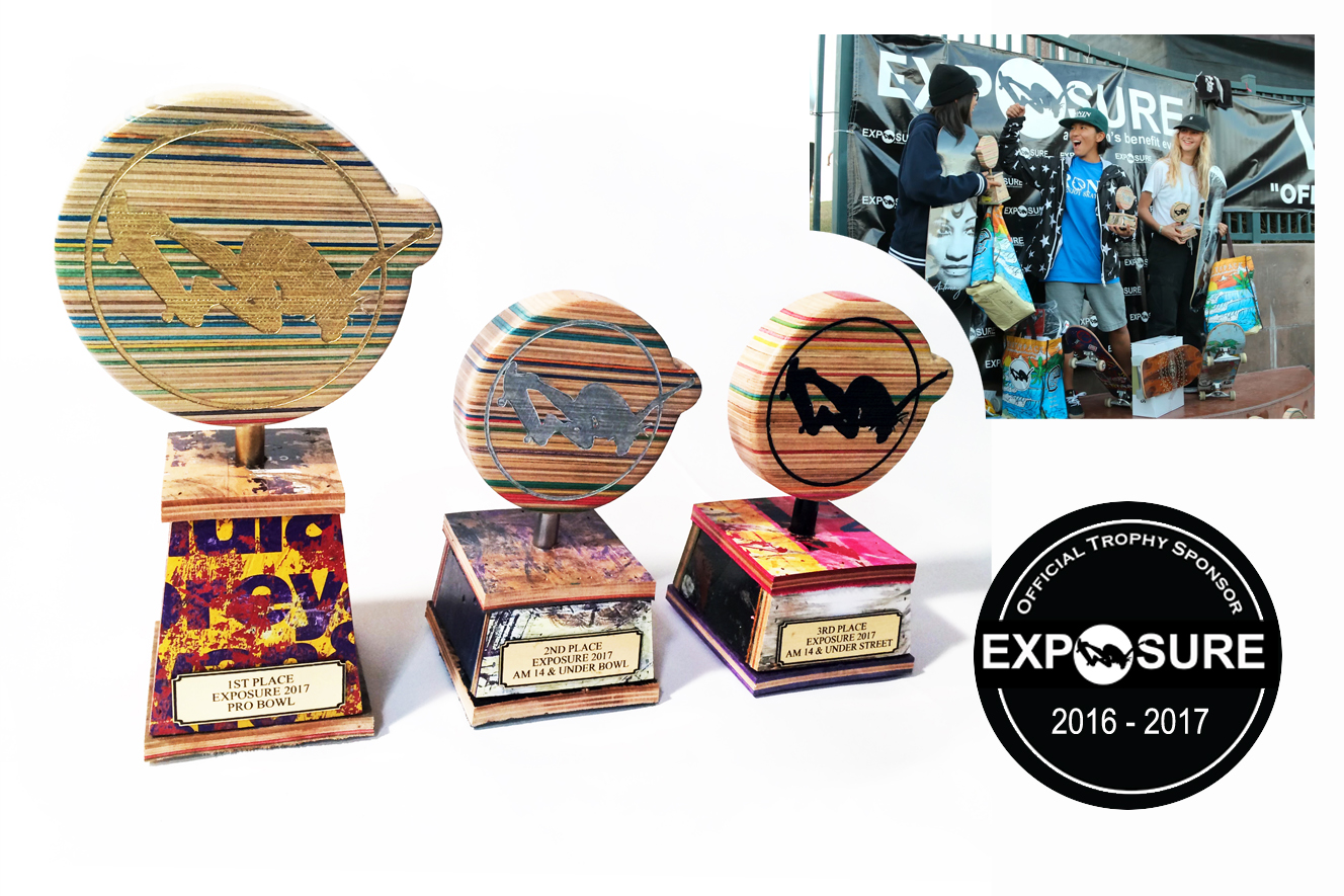 Deckstool is super stoked to be the Official Trophy Sponsor of Exposure Skateboarding for the past 3 years!  Exposure 2017 recycled skateboard trophy style shown above.