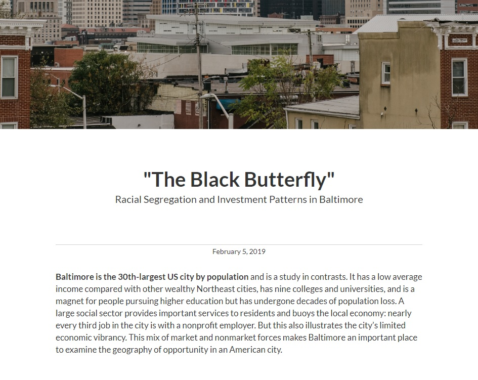 "Urban Institute Report on ""The Black Butterfly"" Racial Segregation & Investment Patterns in Baltimore"