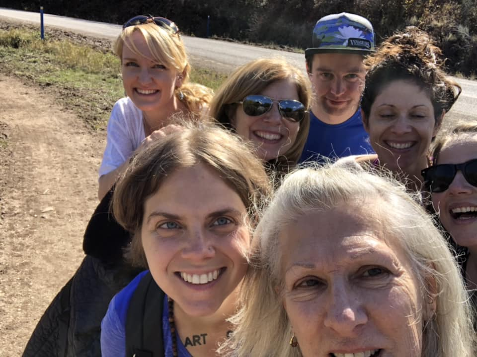 Hiking with new friends at the Four Desires training in October 2018.