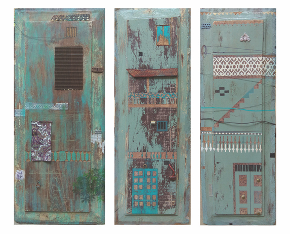 Panel 1, 2 & 3, 2018 Mixed media on wood 23 x 9 inches