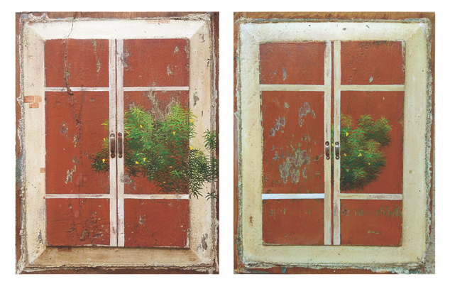 Wooden Window, 2018 Acrylic and metal on wood 13 x 10 inches