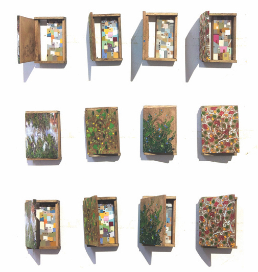 4 Windows, 2018 Acrylic on movable wooden boxes 4.2 x 2.9 inches each