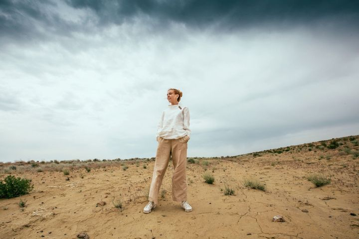 Stacey Dooley stands where there was once the Aral Sea BBC/HELLO HALO/OLIVIA STRONG