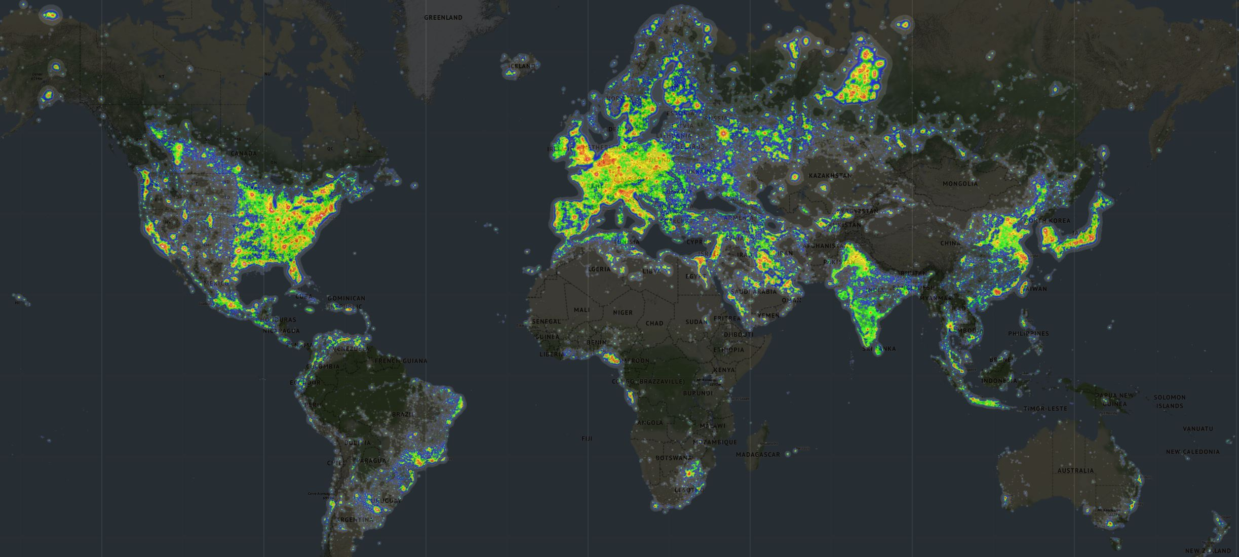 Light pollution litters the world's major cities