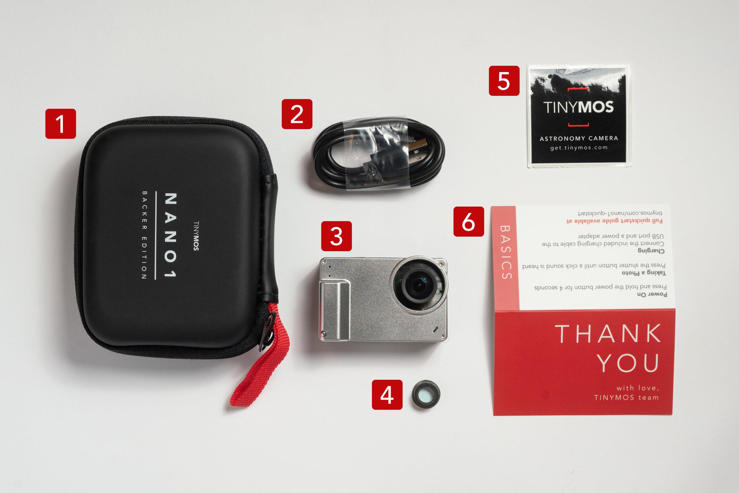 1. NANO1 case | 2. USB-C charging cable | 3. NANO1 Astronomy Camera | 4. IR filter holder | 5. TinyMOS sticker | 6. Welcome & Quickstart Guide