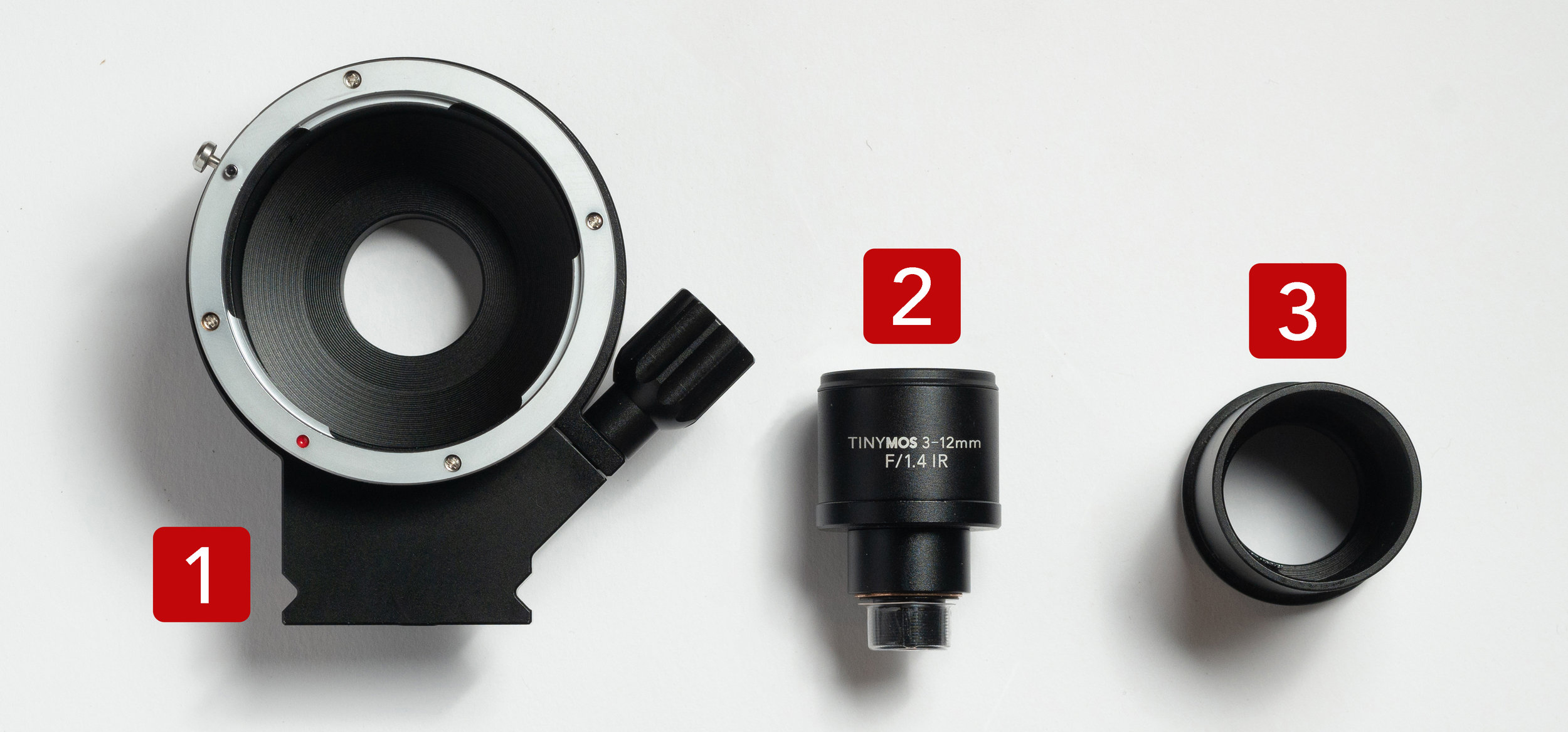 1. DSLR adapter | 2. 3-12mm f/1.4 M12 lens | 3. Telescope adapter