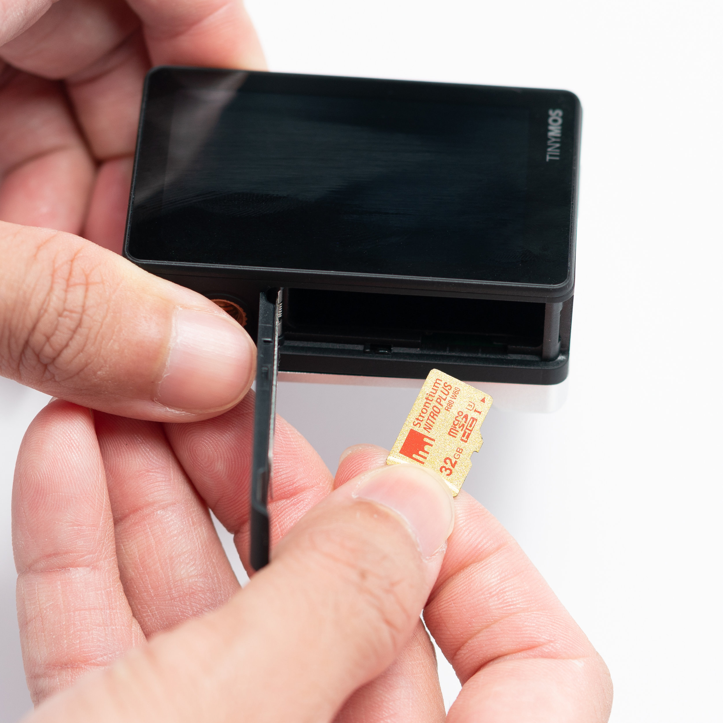 1. To insert a micro-SD card, place it facing in the direction as shown.