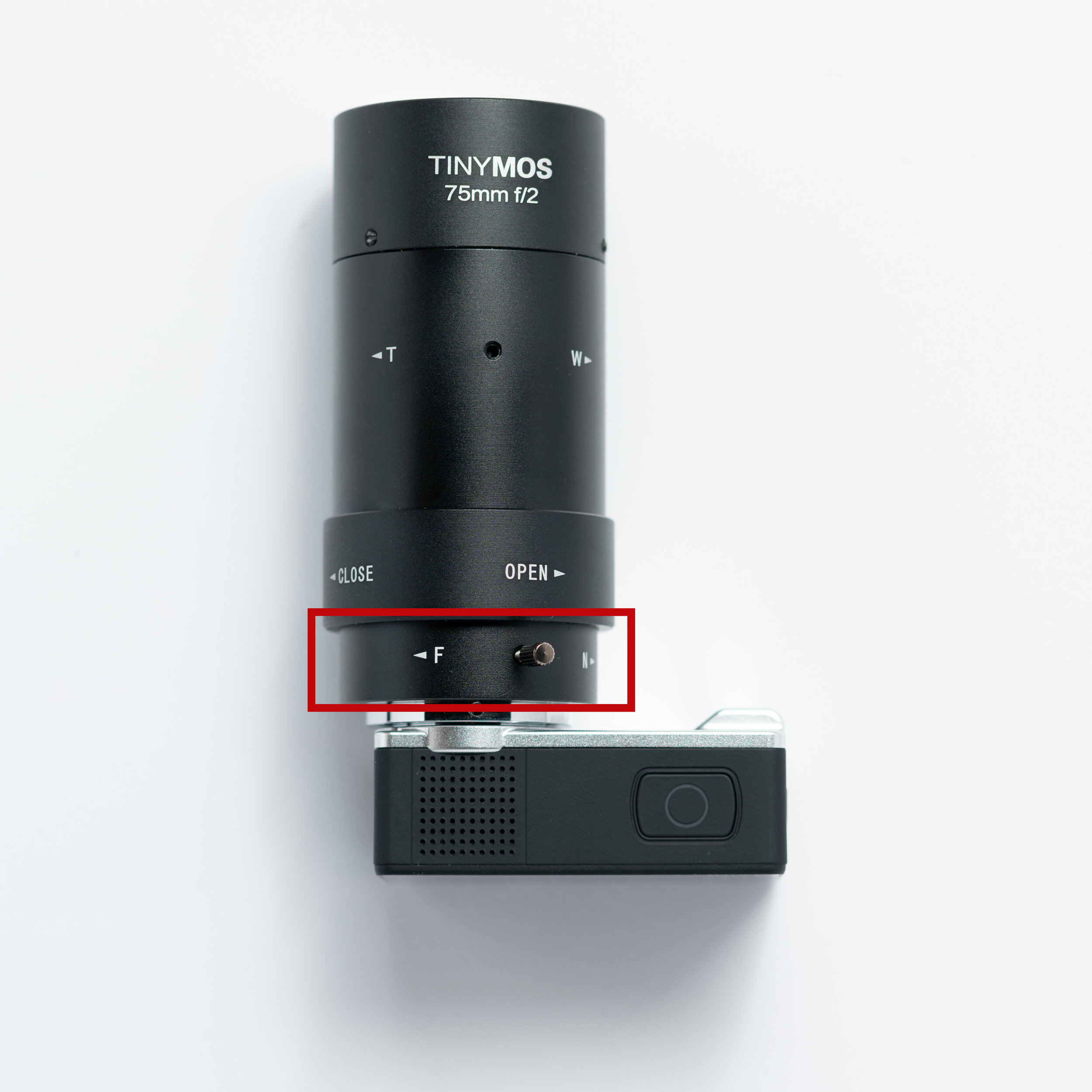 This ring adjusts the focus the lens - F for Far, N for Near.