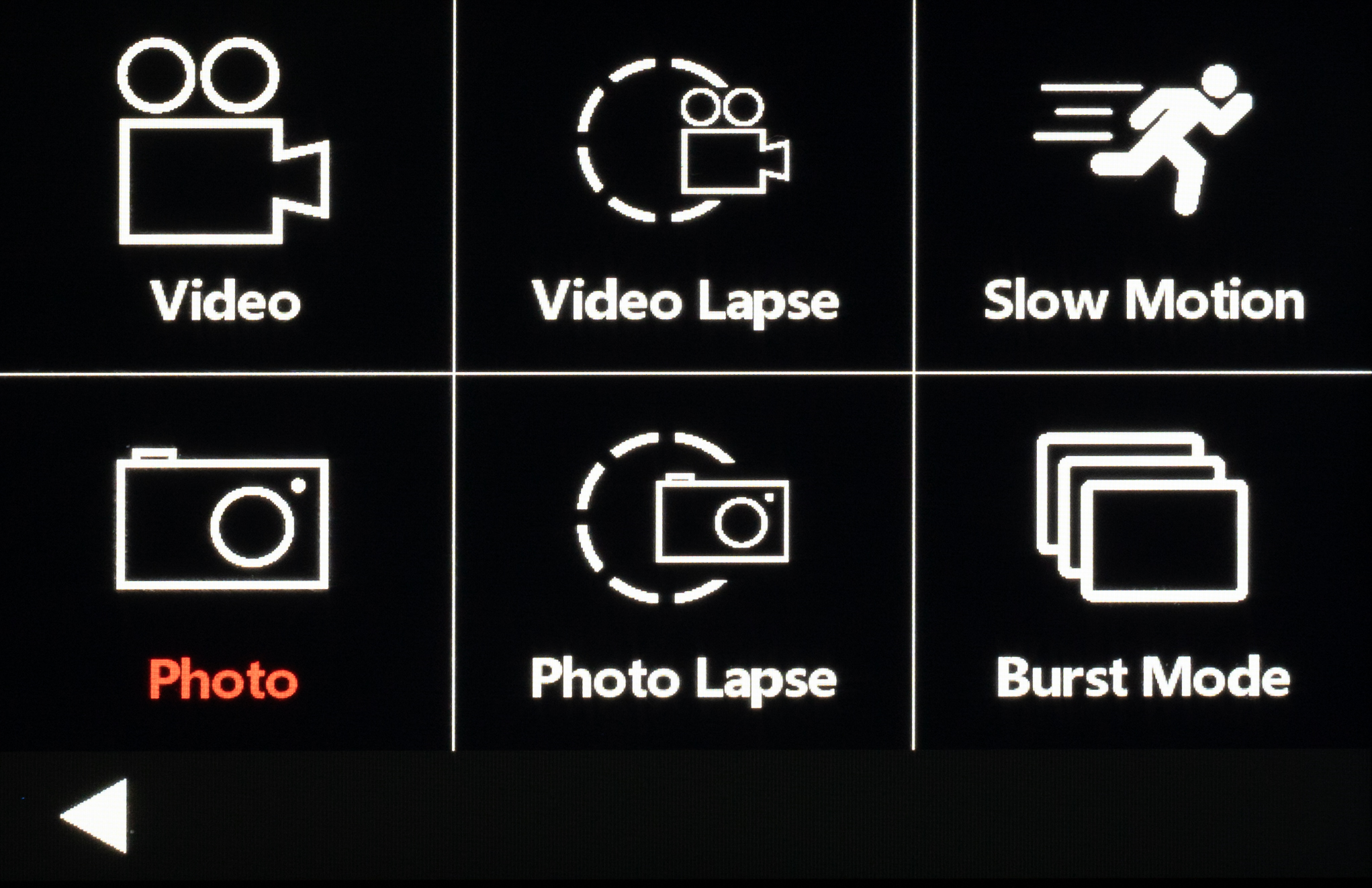 There are 6 different modes for you to select from - video, photo, video lapse, photo lapse, slow motion, and burst mode.