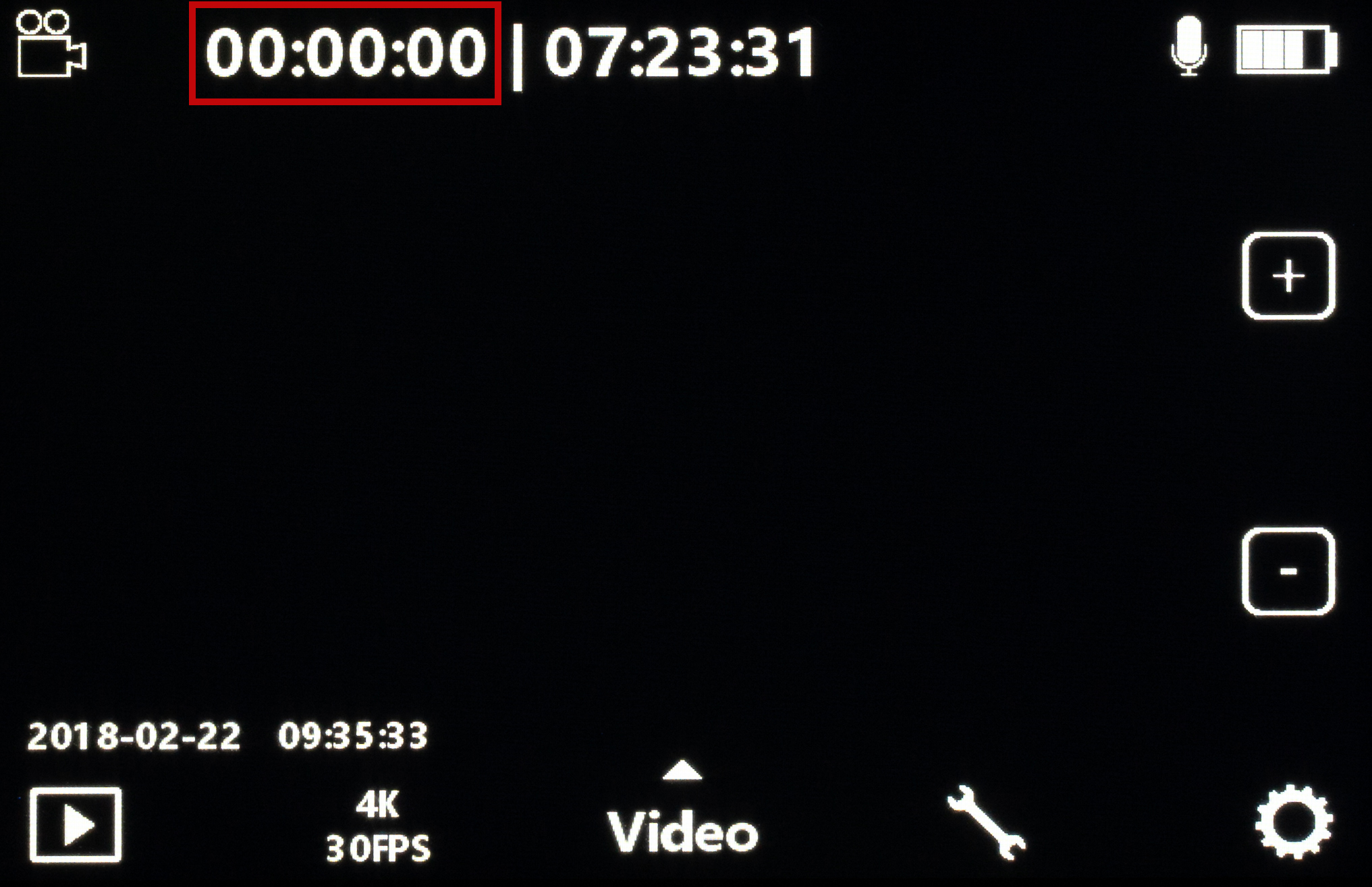 On the top left, this indicates the duration of the video that you have captured.