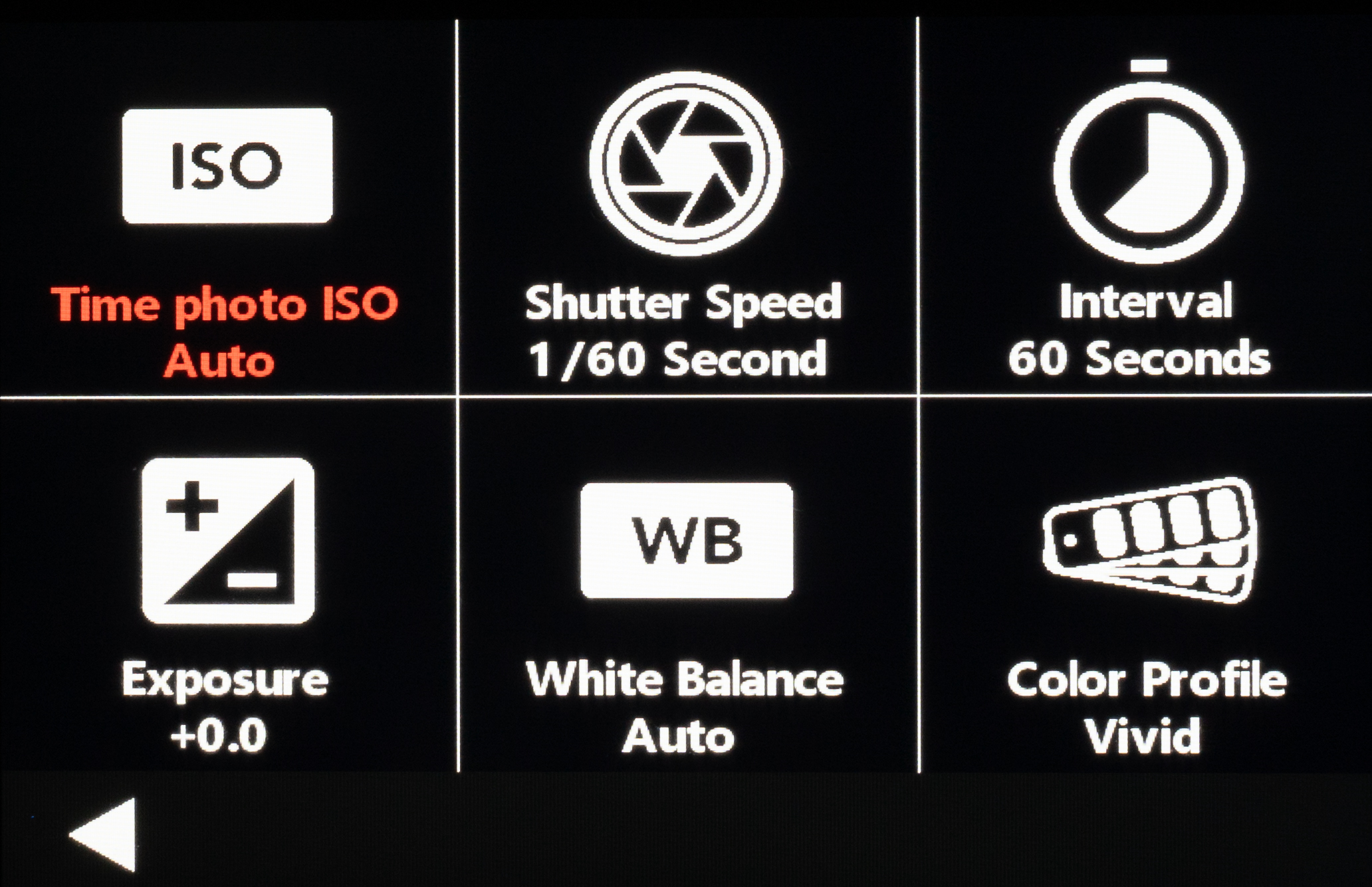 The 3 different settings in the photo lapse mode is the time photo ISO, shutter speed, and interval. We recommend to set the time photo ISO to a fixed value for beginners.