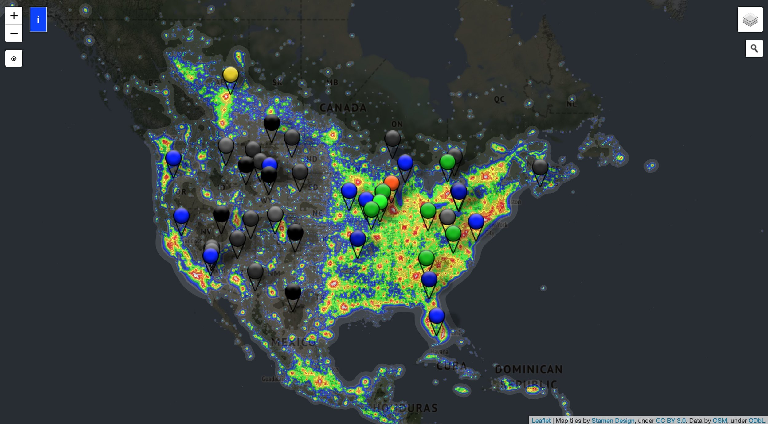 Screenshot of the Light Pollution Map from  Dark Site Finder . Darker areas indicate darker sites, while red shows heavy light pollution.