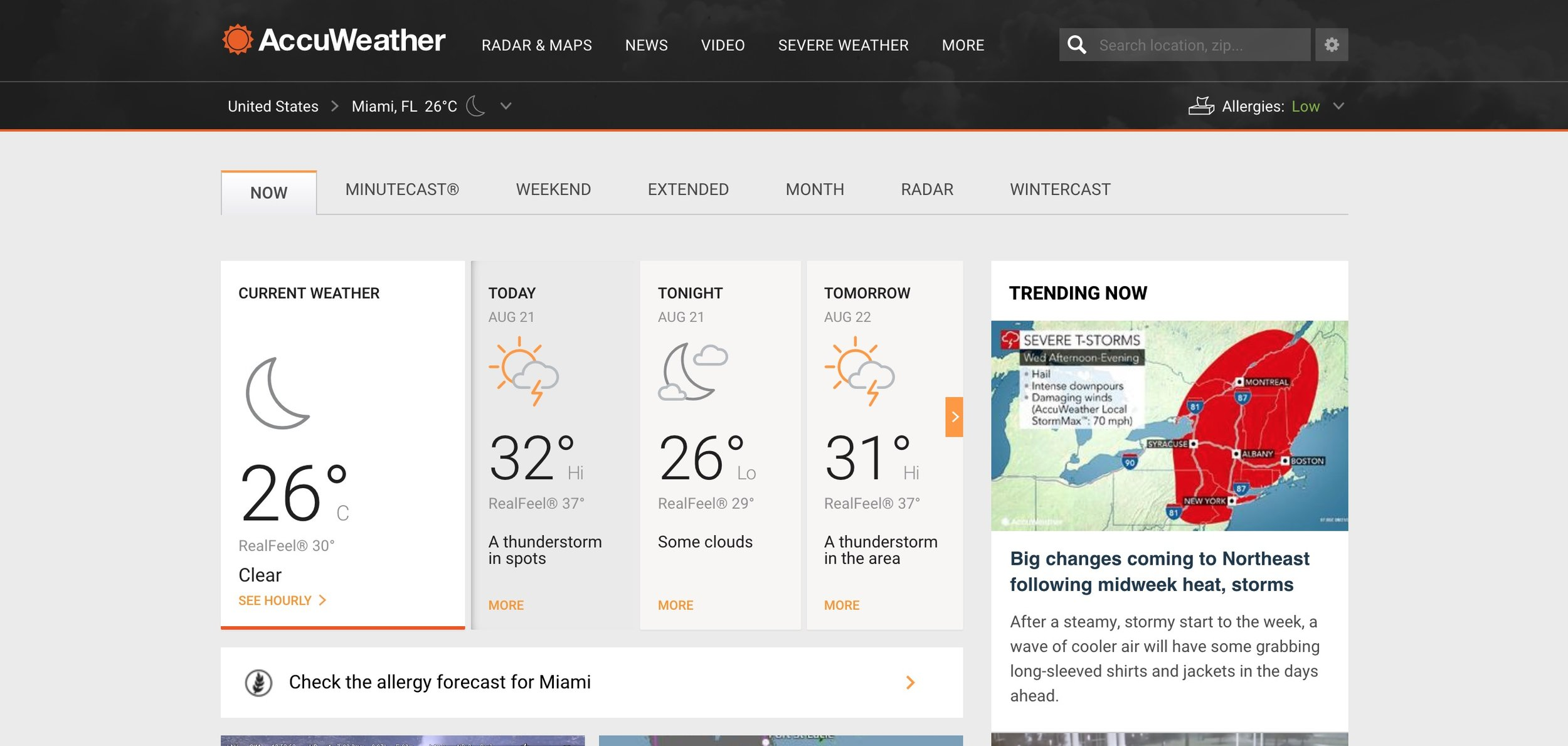 A weather forecasting site like Accuweather.com shows the cloud cover conditions.
