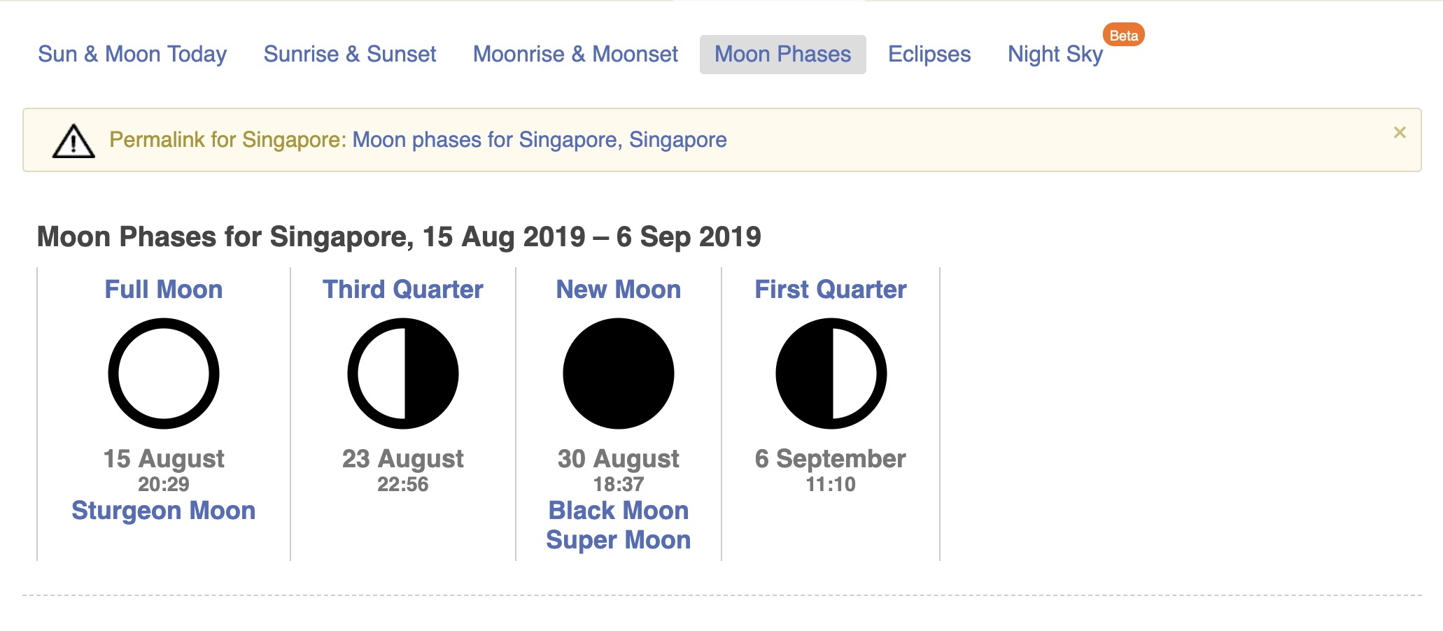 The lunar calendar shows the moon phases and the dates. In this instance, 30 August 2019 would be best to see the stars as it is a new moon.