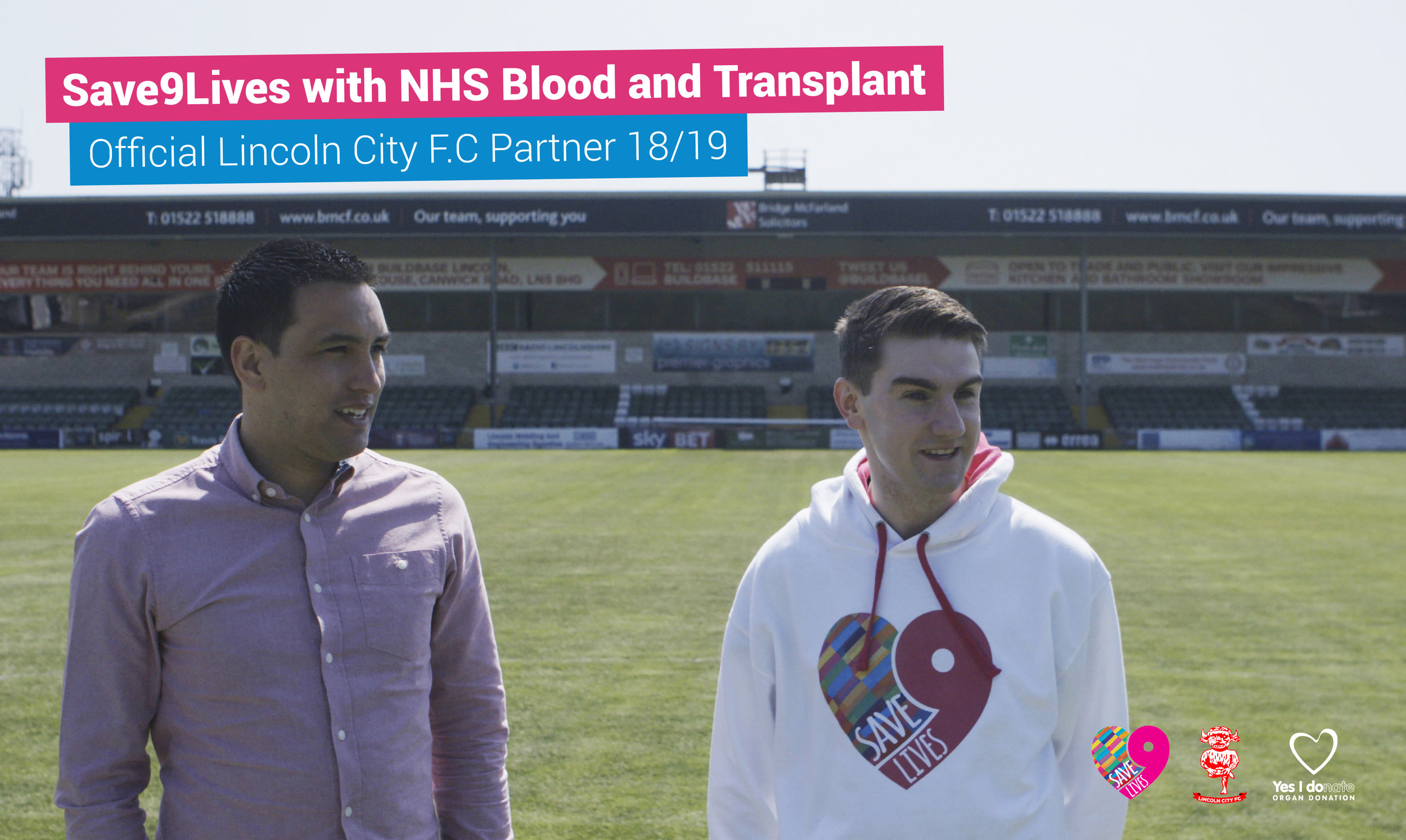 Jim Lynskey, Save9Lives Founder, with Imps' Chief Executive, Liam Scully.