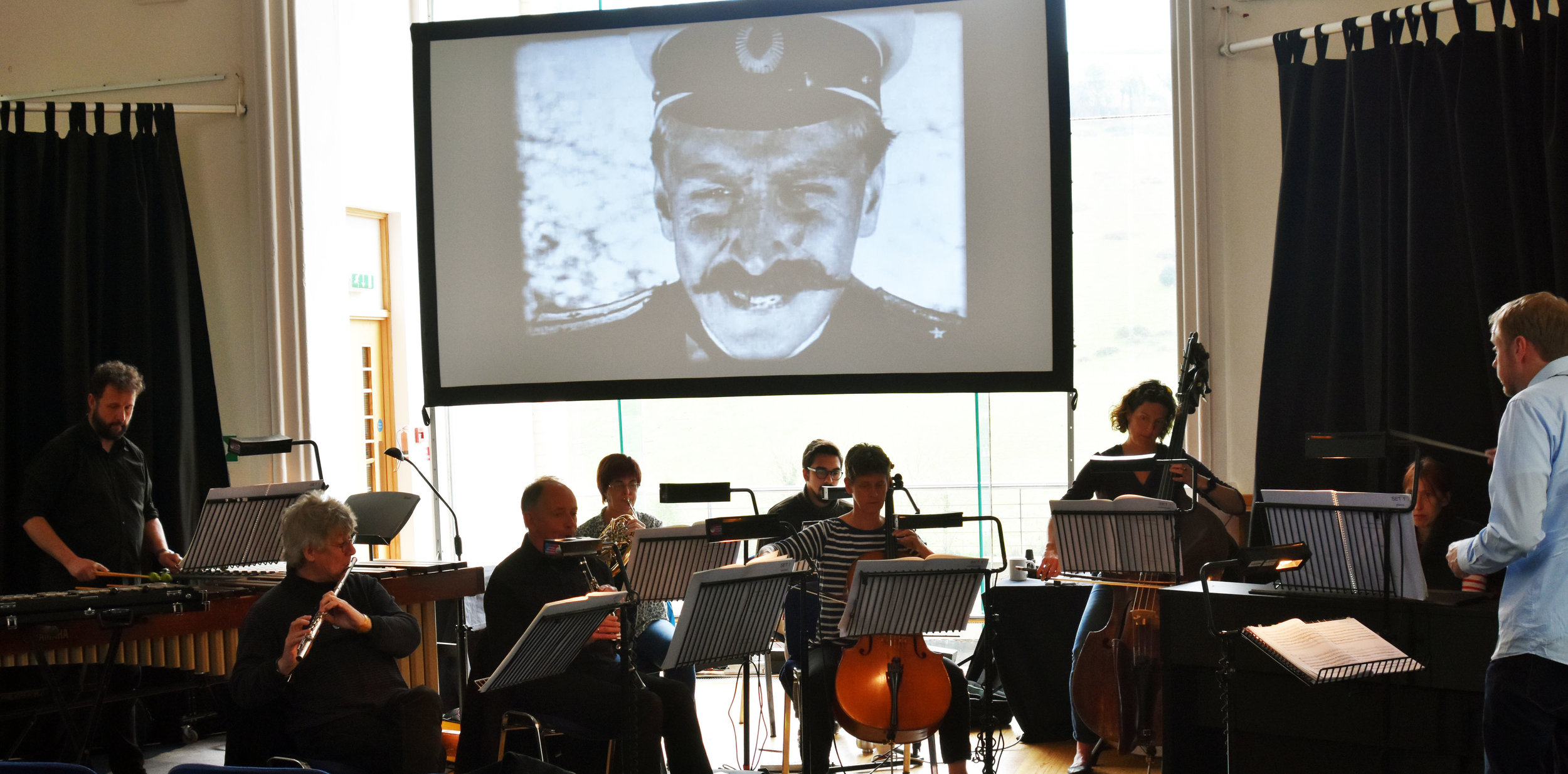 Kevos Ensemble in rehearsal - Battleship Potemkin with score by Ed Hughes.  13.4.2019 Calstock Arts Centre