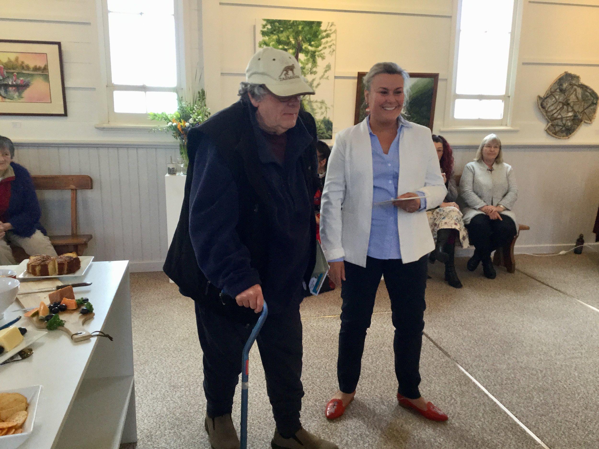 Joe Lake with Anita Dow MLC Burnie Coastal Art Group AWARD