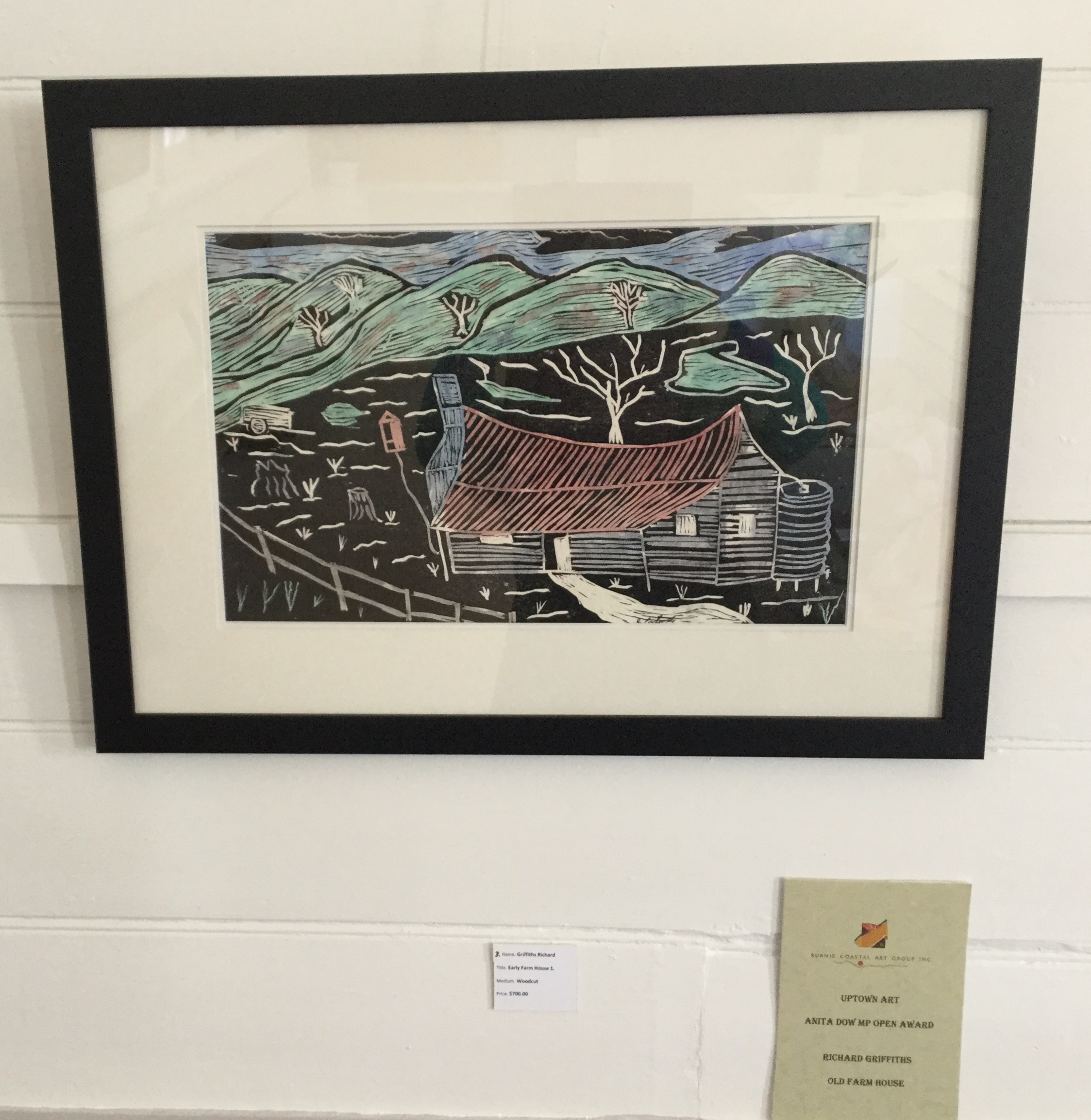 Anita Dow Award winning painting Old Farm House a wood block print by Richard Griffiths