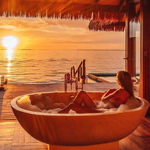 From the bathtub in your Ocean Villa, you can sit back, relax & soak up the magic of the Maldives
