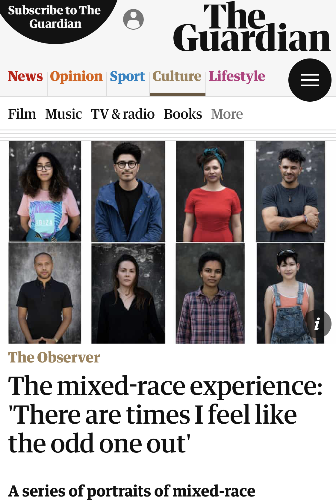 - https://www.theguardian.com/artanddesign/2018/aug/26/the-mixed-race-experience-there-are-times-i-feel-like-the-odd-one-out-
