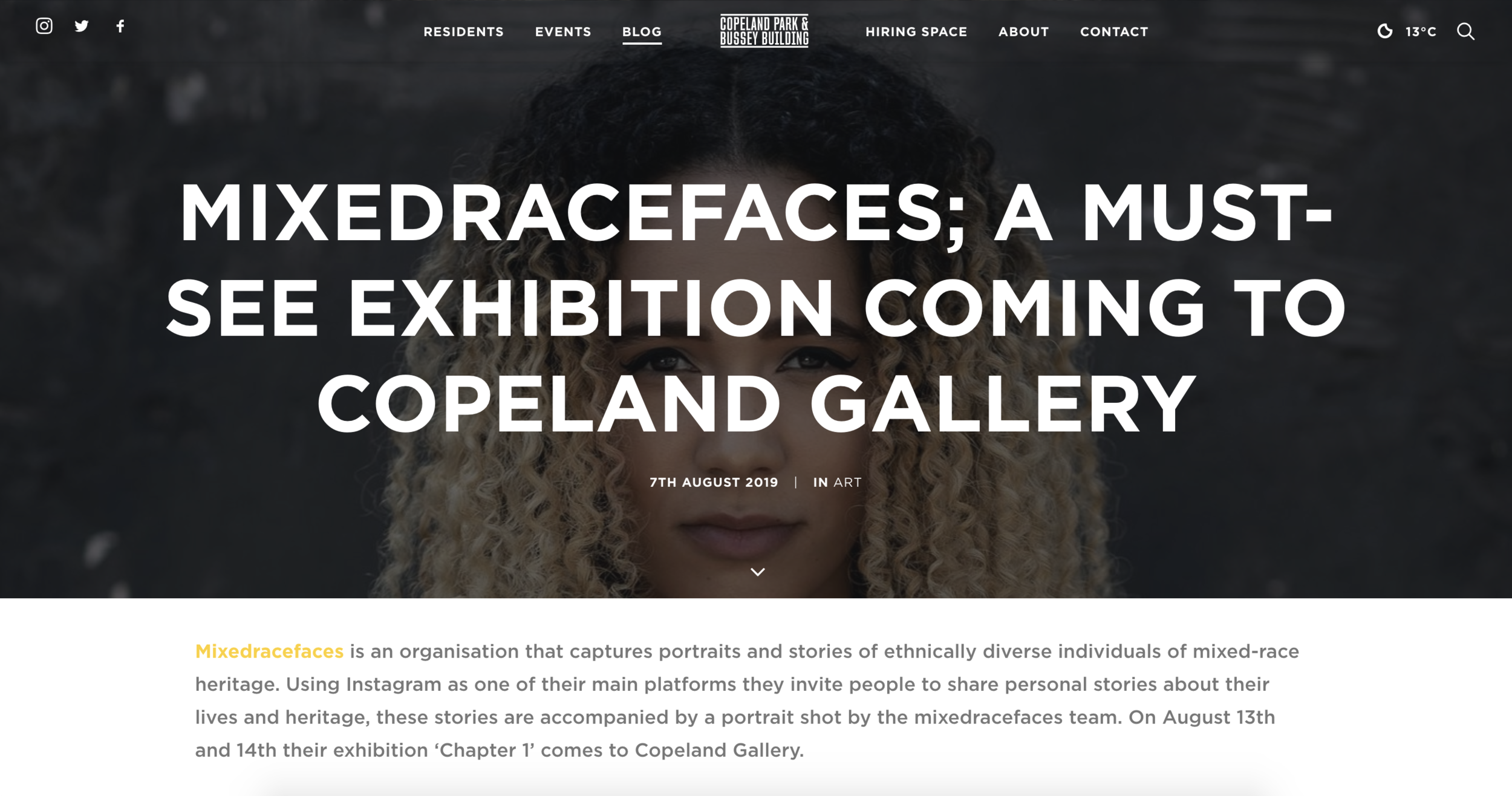 - https://www.copelandpark.com/blog/2019/08/07/mixedracefaces-a-must-see-exhibition-coming-to-copeland-gallery/