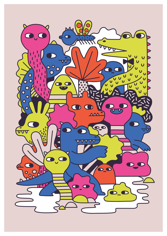 Monster mash - a Supercrafti art print.