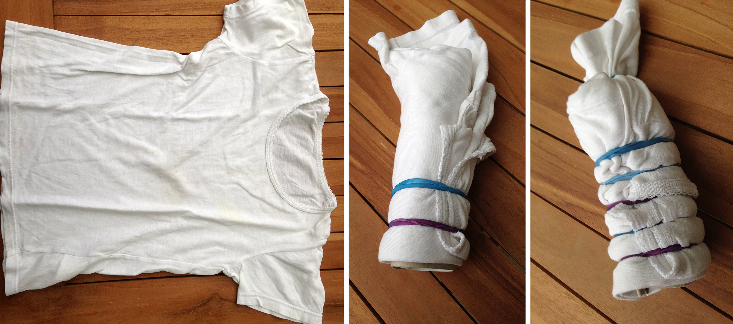 Kinder-Shirt auf Papprolle gewickelt, danach mit Gummibändern abgebunden und gerafft