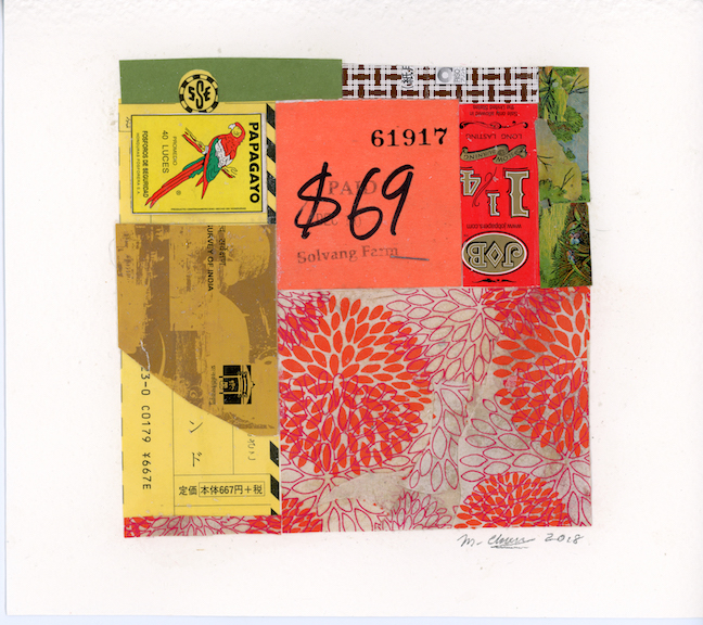 $69, 2018, collage on Arches, 6 1/8 x 6 1/8 inches