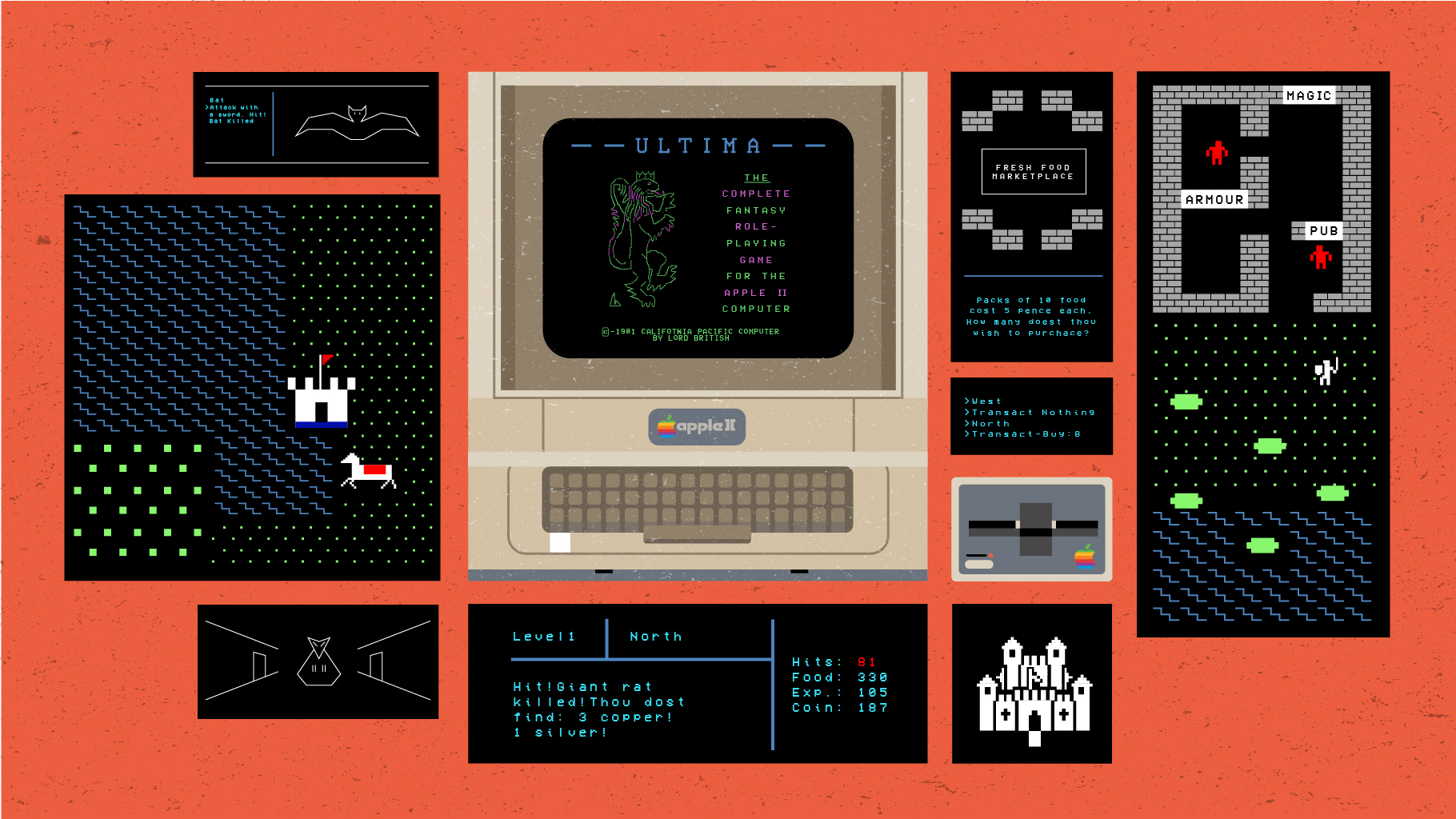 The Saga Begins - In a spiritual sense, Akalabeth had more in common with the D&D series than with Ultima. Like those early programming exercises, it was more about getting a sense of things on a technical basis and feeling out the realities of game design in a new medium. It was only after kicking the Apple II's proverbial tires with Akalabeth that Garriott would finally go on to create his first truly notable game, the original Ultima. A much larger adventure than Akalabeth, Ultima required Garriott to make use of all the game making tricks he had learned to that point.