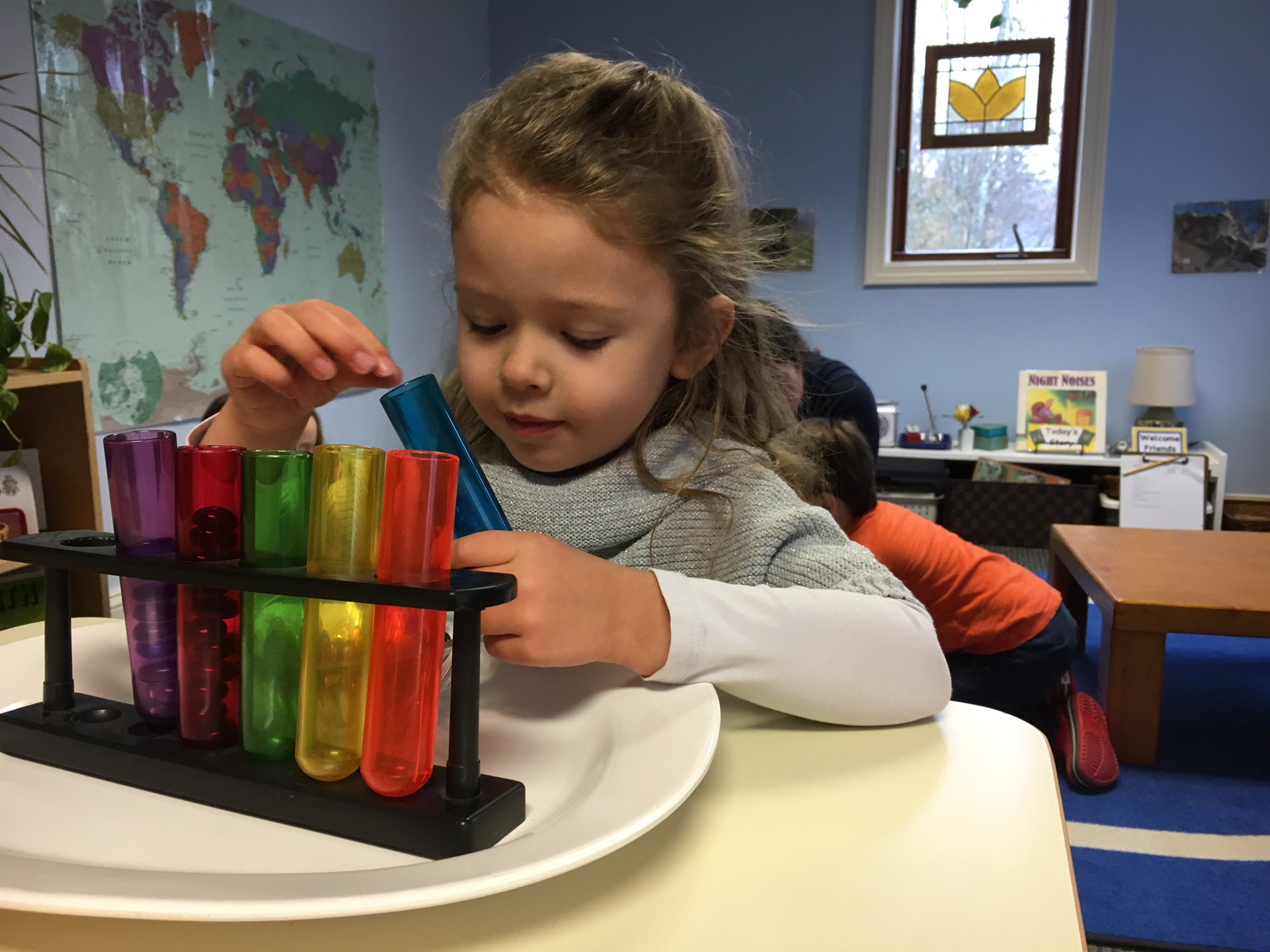 Color sorting the the practical life area of a primary classroom