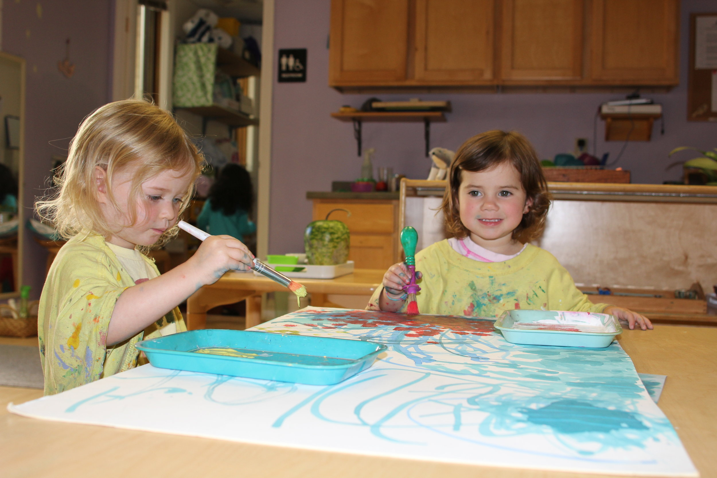 painting in the toddler classroom