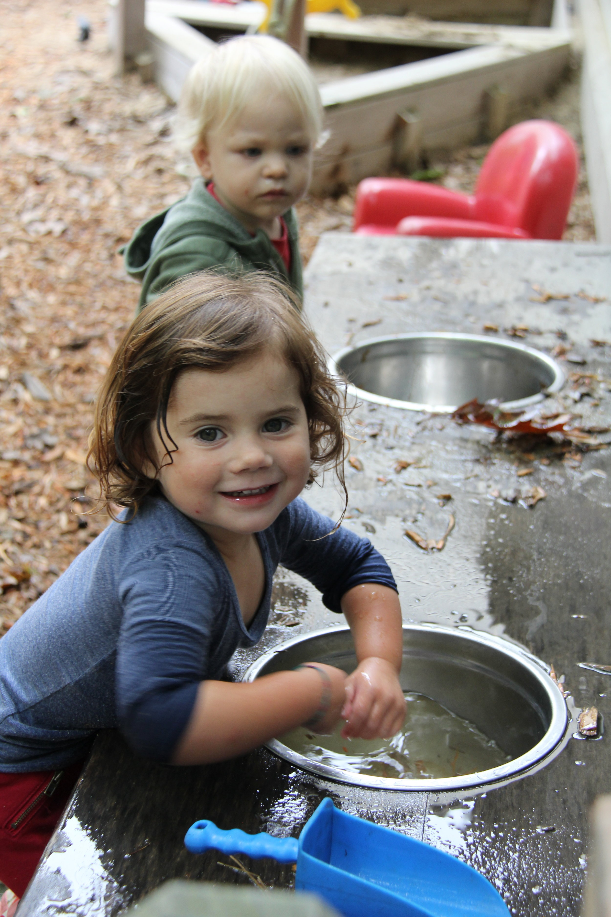 Enjoying the outside water table.