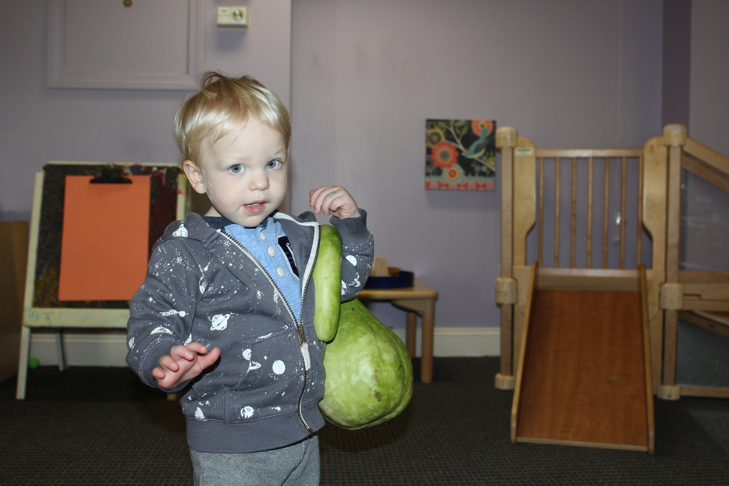 Building core strength with a heavy gourd.