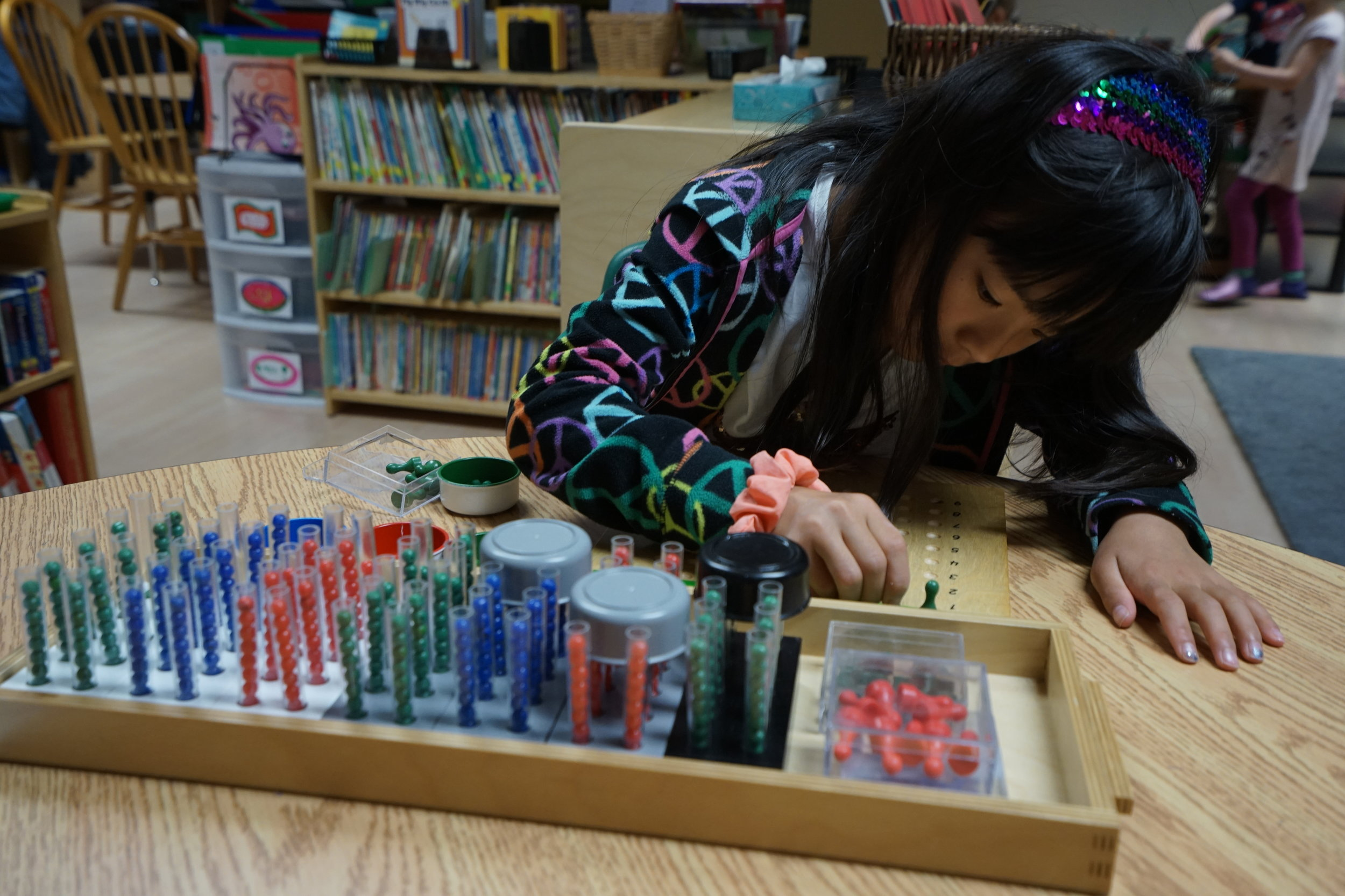 A third year elementary student works with the Division Test Tubes, a traditional Montessori math tool.