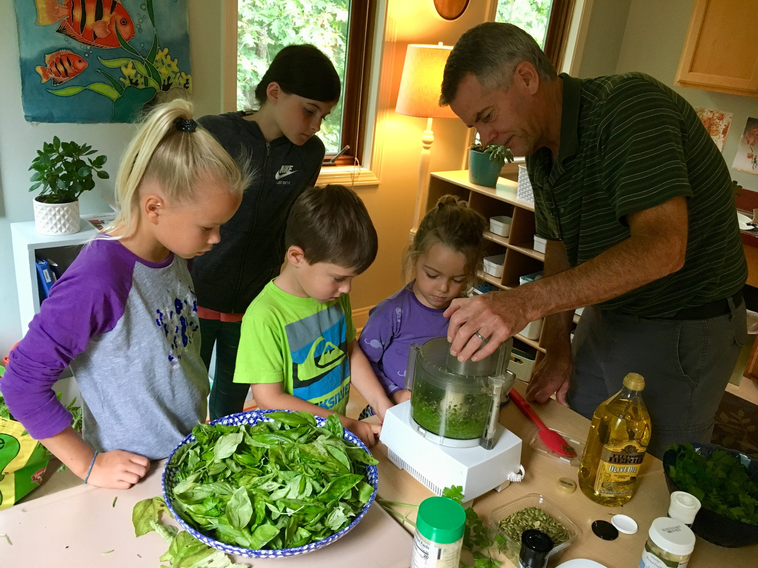 Upper elementary students work with primary students along with Michael to make pesto with basil harvested from our garden.  Pumpkin seeds replaced the nuts to make it nut free.  The smell of basil filled the air!