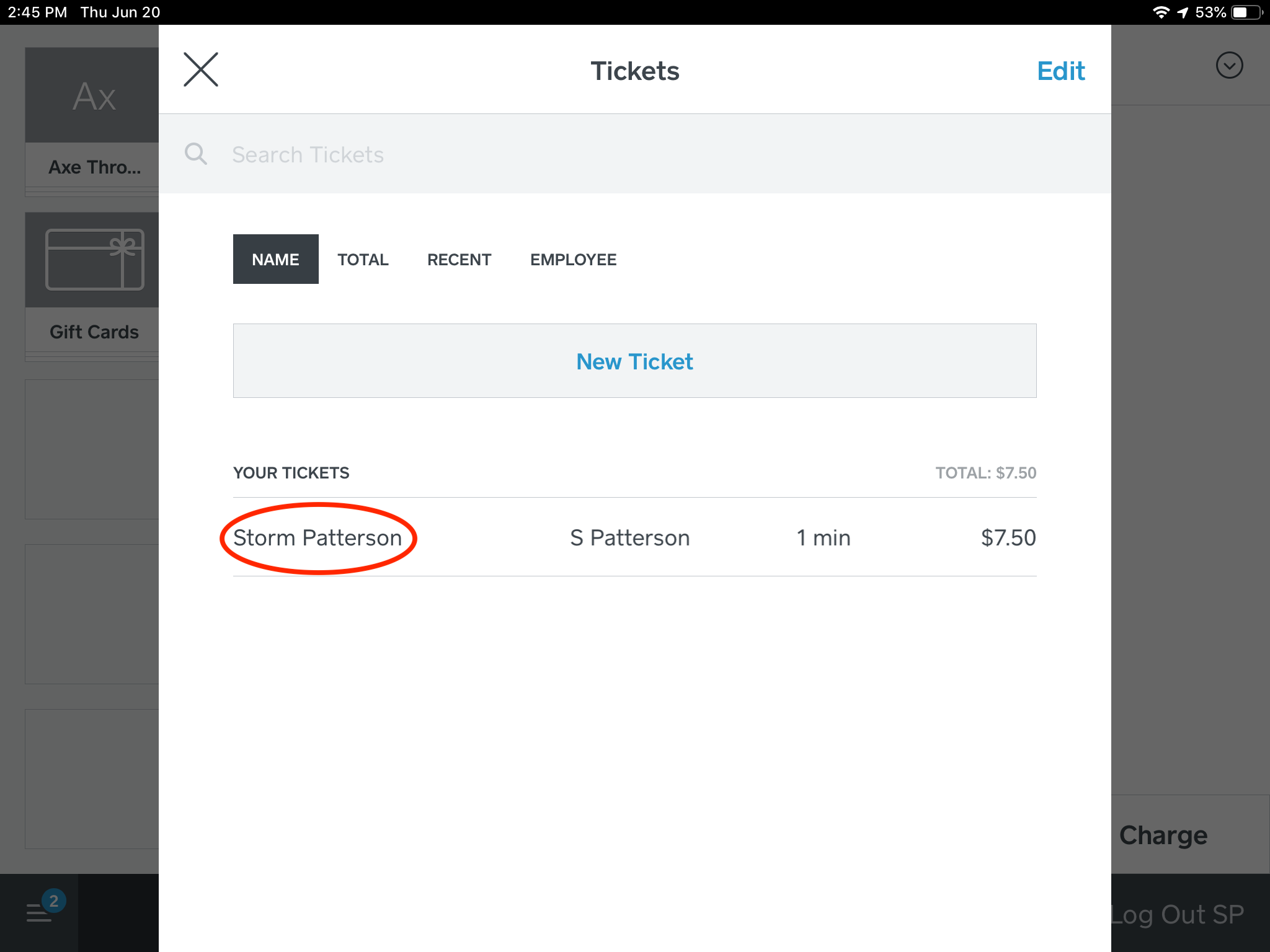 Step 5: Select the guest ticket that you would like to open.
