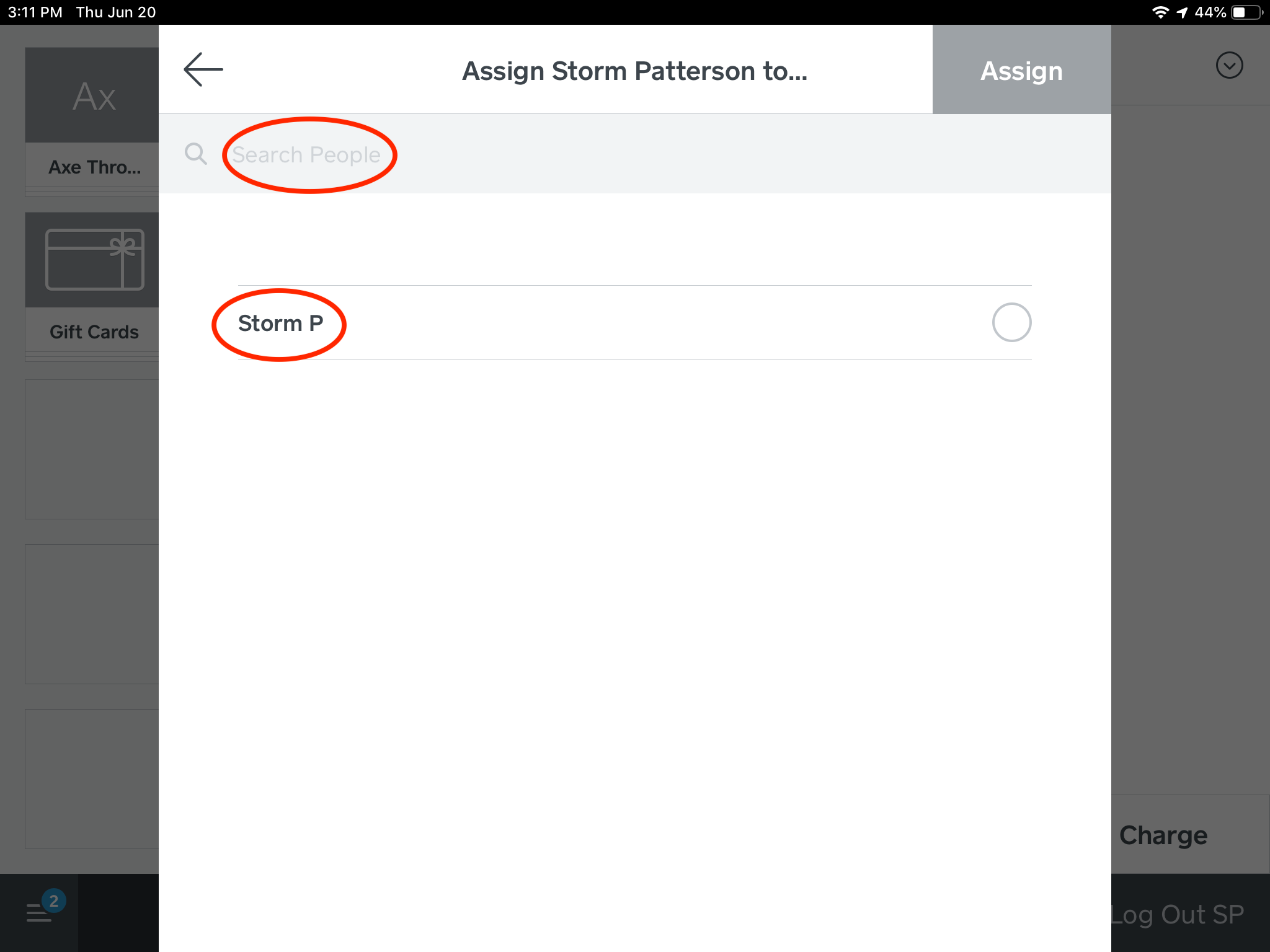 Step 4: If you would like to assign the selected ticket, you can search for the other guest's name that you would like to assign the ticket too.