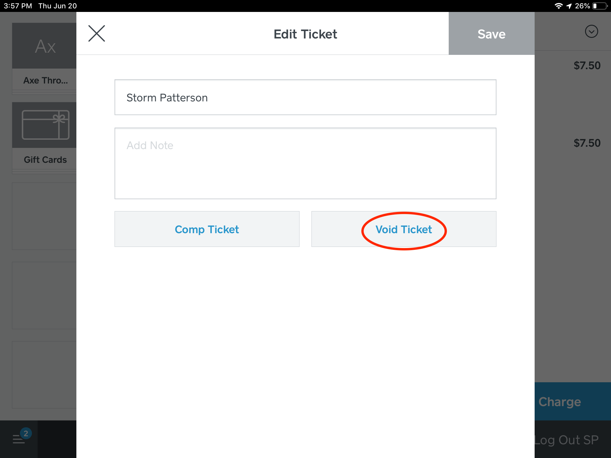 """Step 8: Select """"Void Ticket""""."""