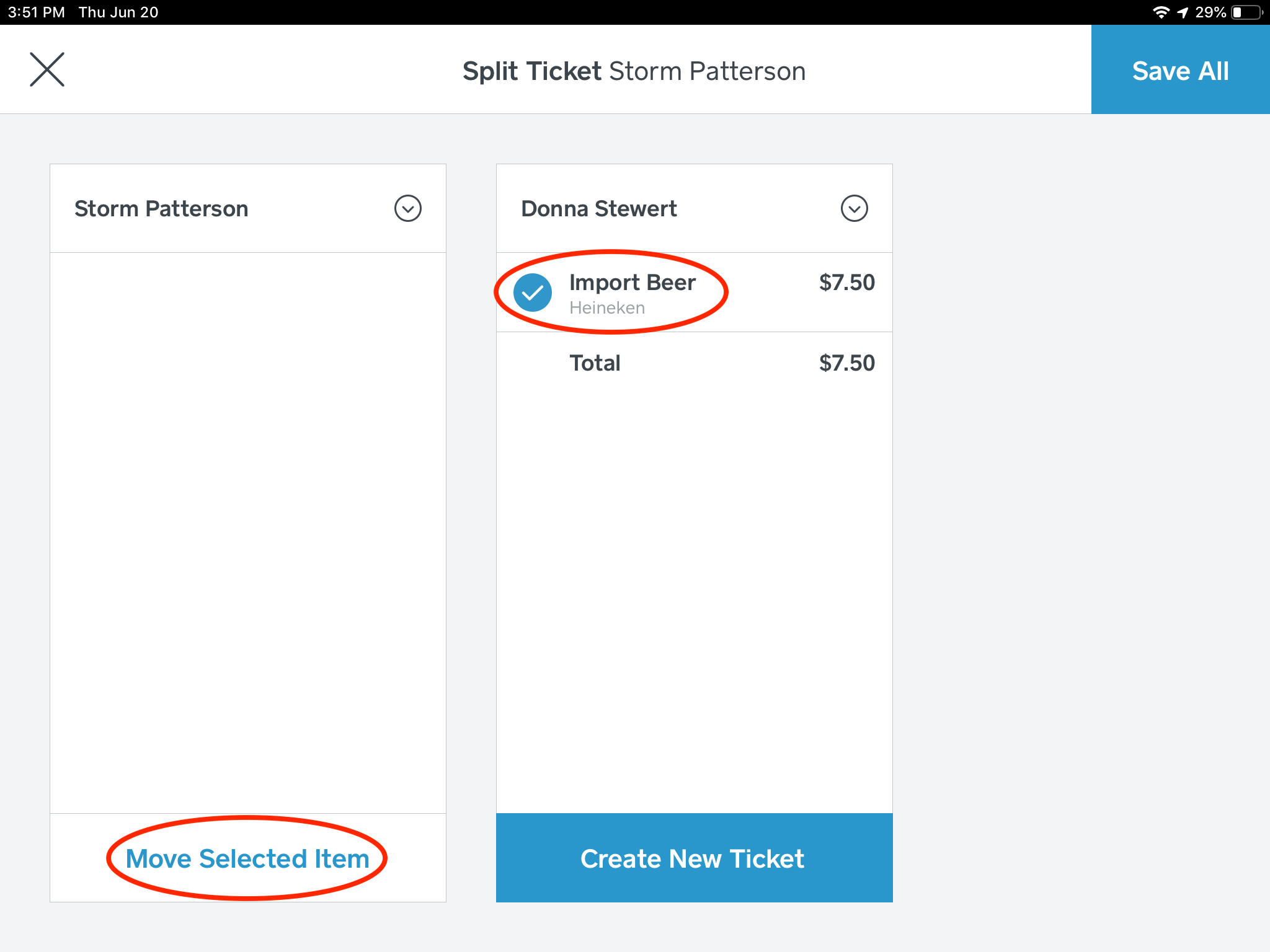 Step 7: Once you have entered the name of the new ticket, you are now able to move items from each respective ticket.