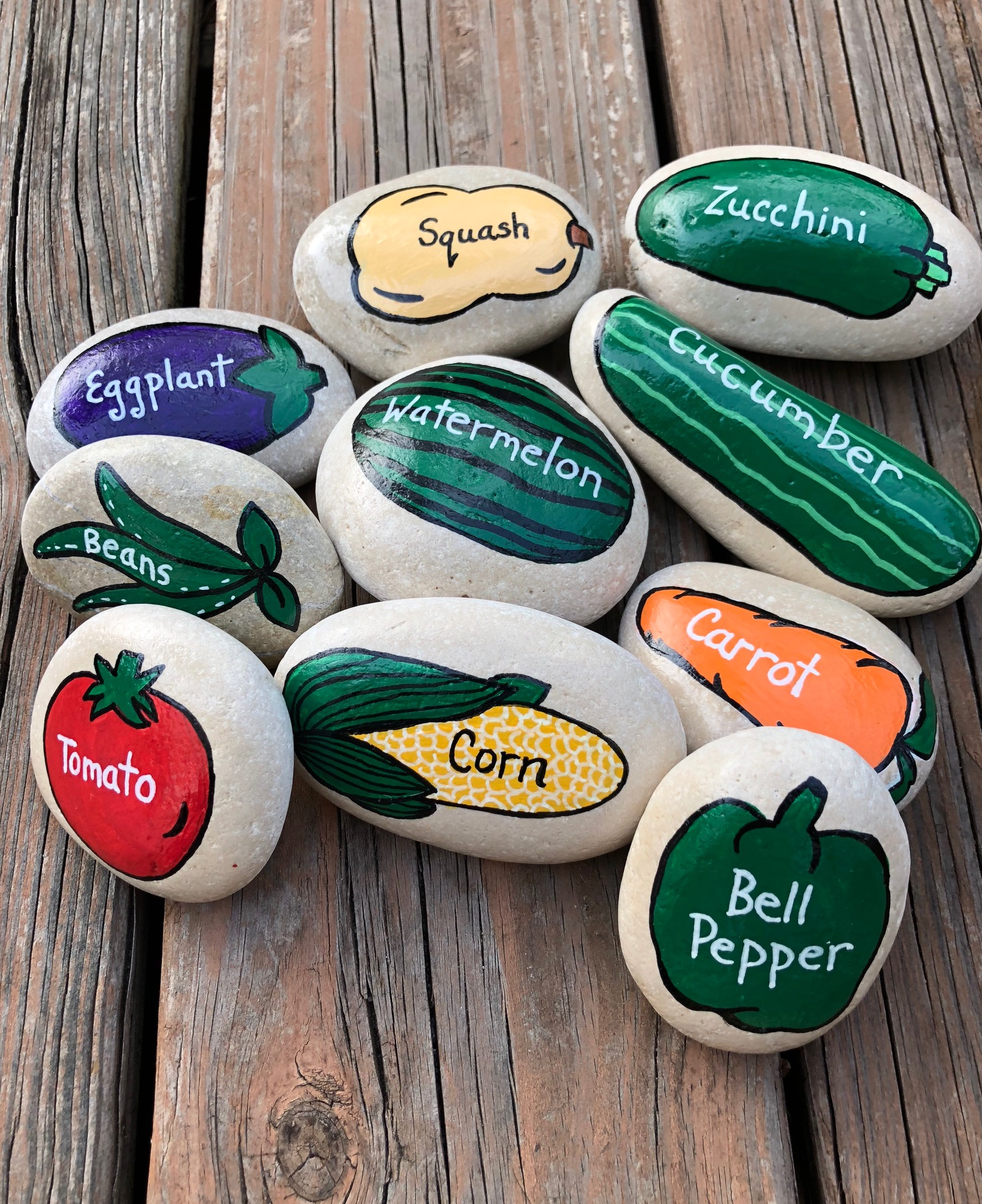Vegetable Garden Marker Painted Stones