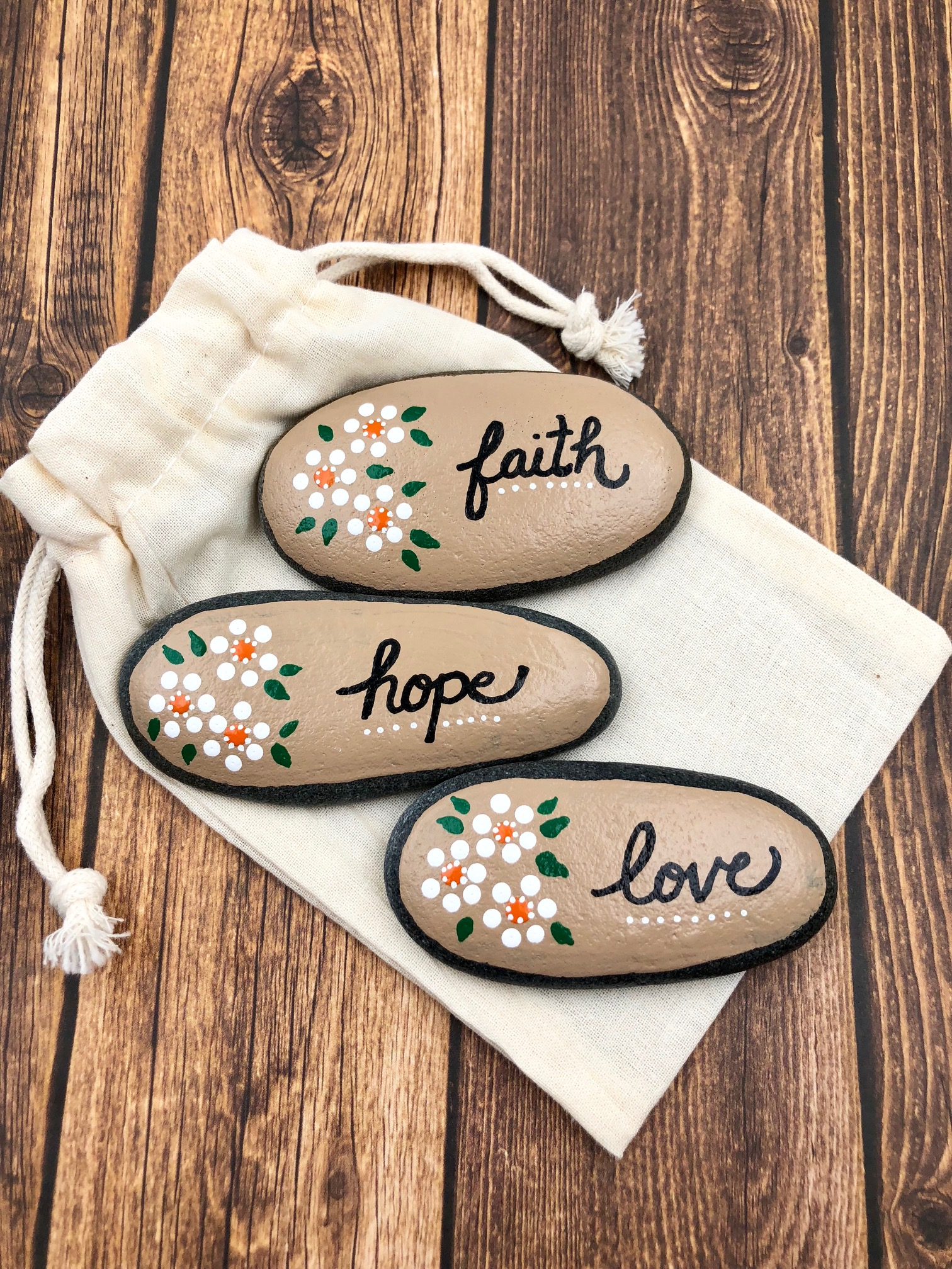 Faith, Hope, and Love Painted Stones