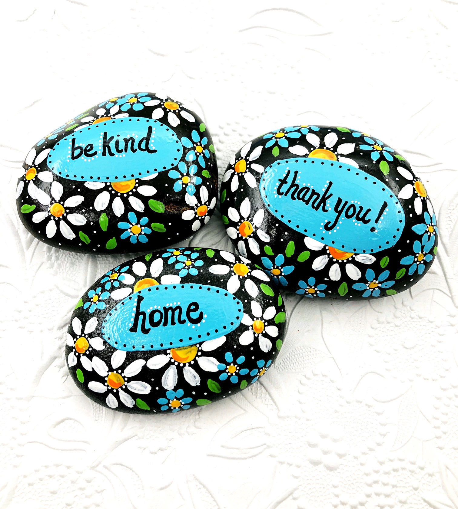 Worry Stone With Inspirational Words LOVED Hand Painted Rock