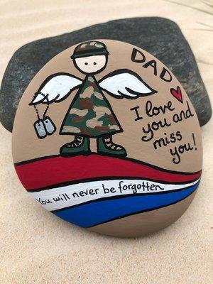 Army Angel Memorial Rock, Patriotic Veteran Memorial Stone Custom, Military  Memorial Painted Rock, Veteran's Day Memorial Day Painted Rock — Alleluia