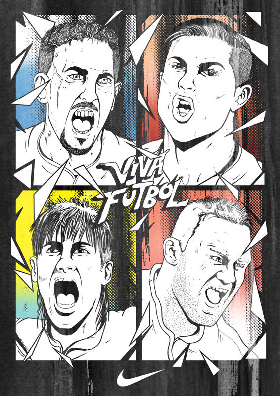 Rejected NikeFootball campaign Illustration for World cup 2010. Ribery was the reason that it wasn't used as it was so tight that I couldn't do a redraw.