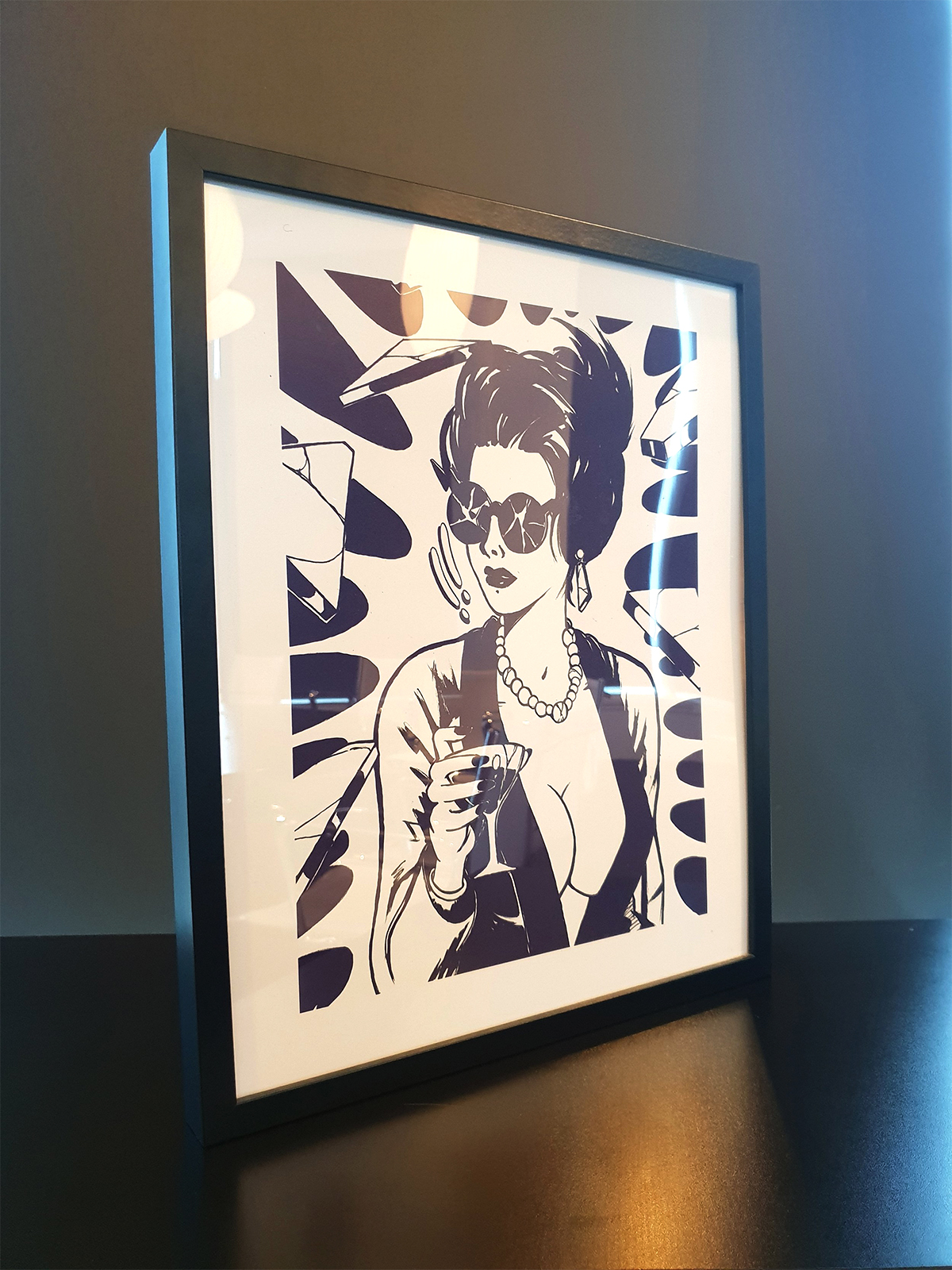 'Martini Crash' Framed print from the 'Selected Print Works' Exhibition. SOLD.