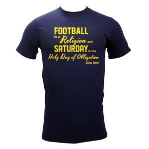 Football Religion – Navy - Basic 100% Cotton Tee. Available in unisex sizes S – 3XL.