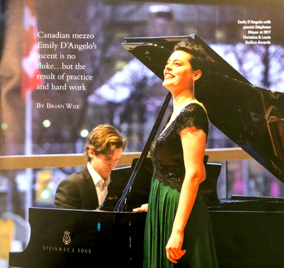 Keeping her eye on the prize… - A telling interview with UofT Alumna Emily D'Angelo (MusBacPerf 2016) in the Spring 2019 edition of Opera Canada Magazine.