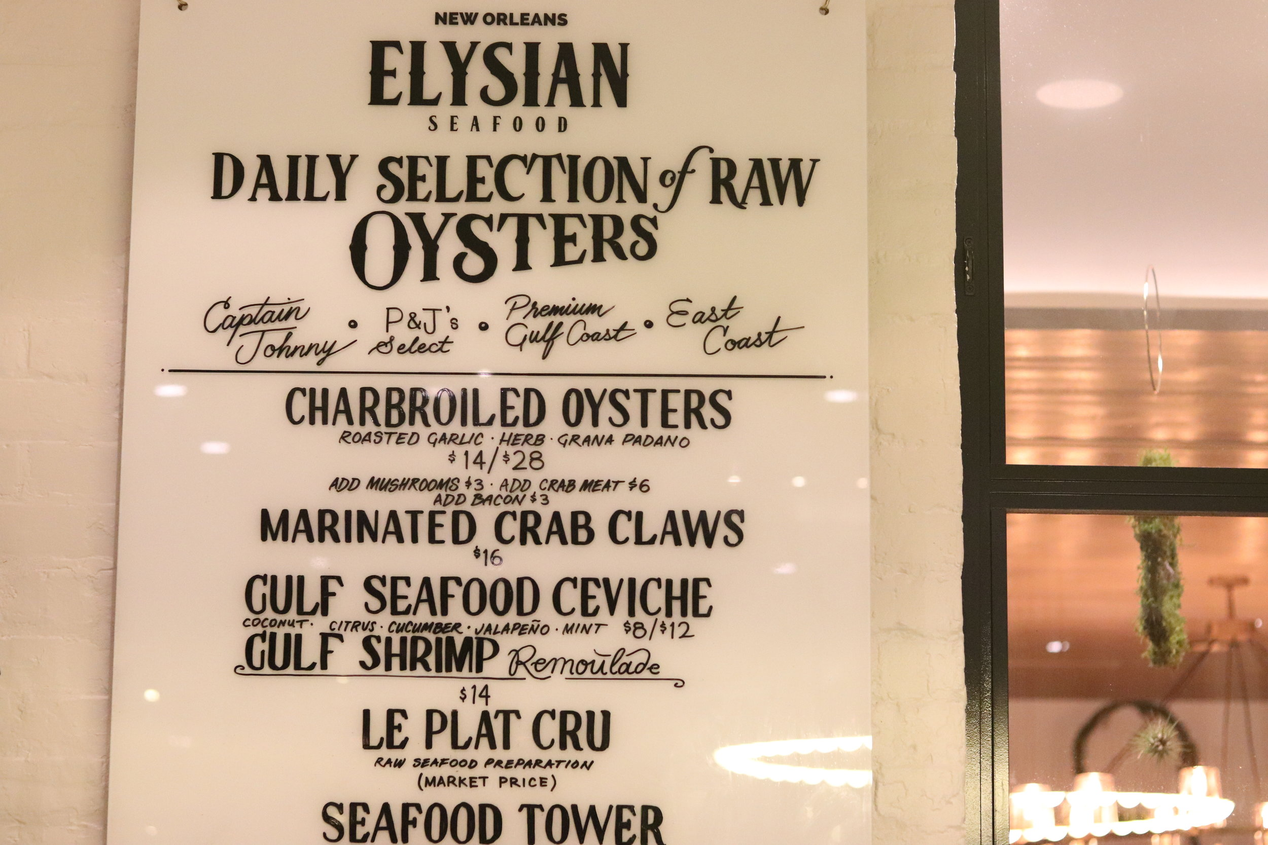 Elysian Seafood - This is the first restaurant we tried,I had the crab claws and Leah had the crab cake, both were amazing; but the crab cake was the winner, the corn cream on top was the perfect combination of sweet and savory goodness.