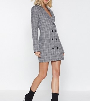 Check Blazer Dress - by Nasty Gal