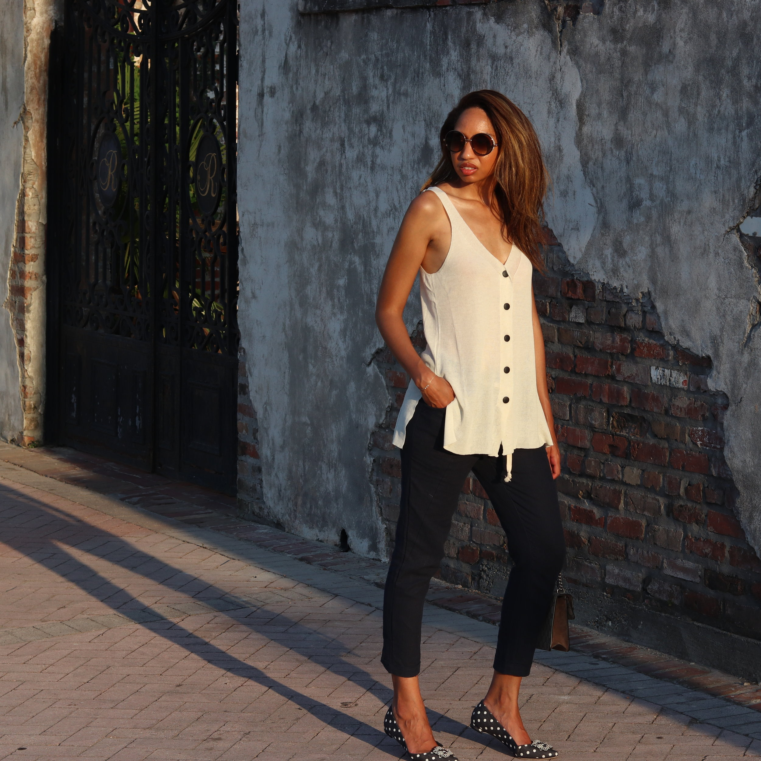 Top:  The Sleevless Seater Vest   Pants:  The Summer Jogger